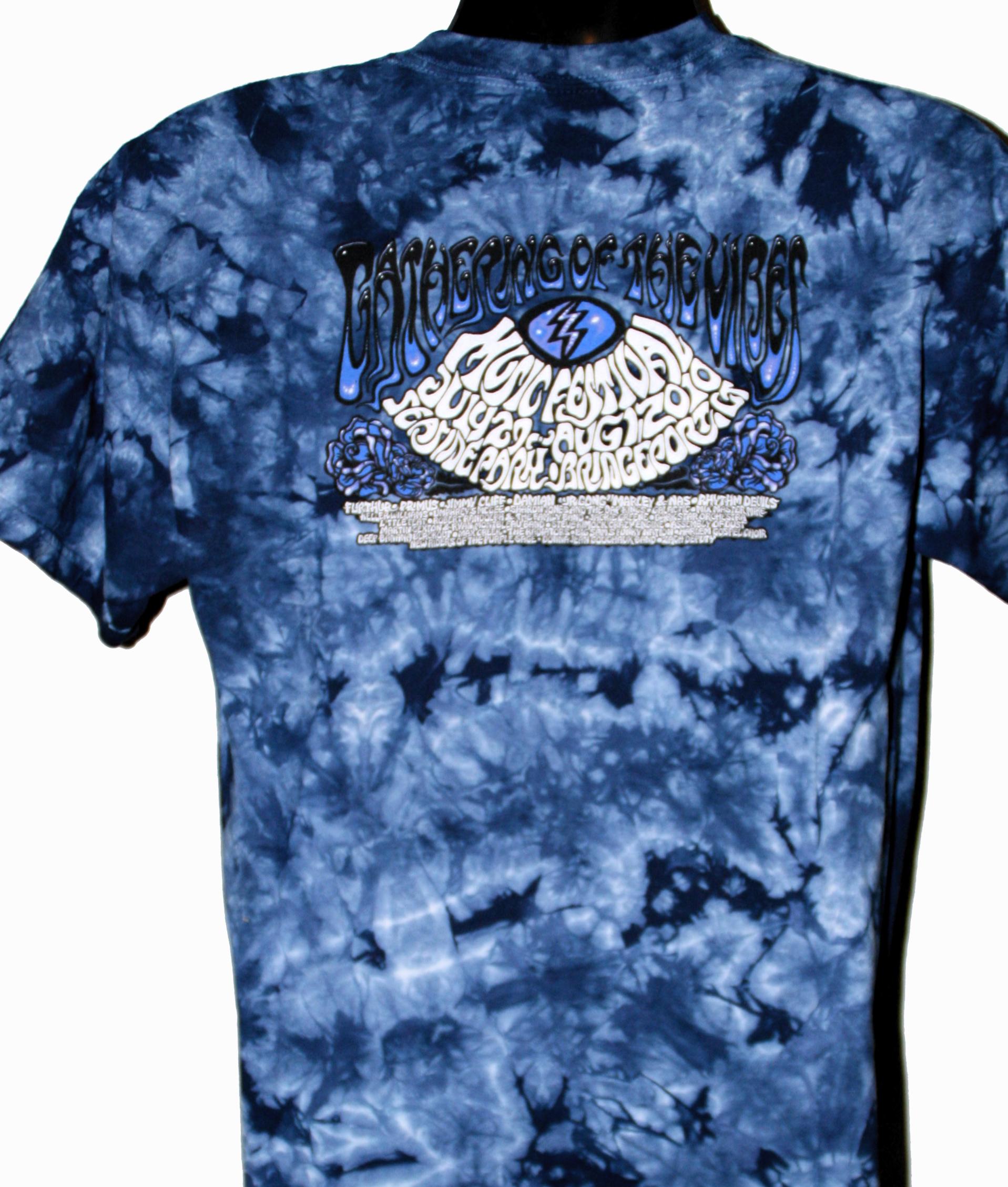 2010 Wood Turtle Dark Blue Tie Dye T Shirt Gathering Of